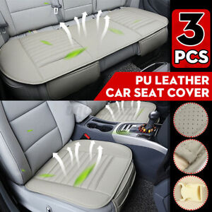 3 Pack Full Set Car Seat Cover Auto Chair Cushion Pad Mat PU Leather Protector