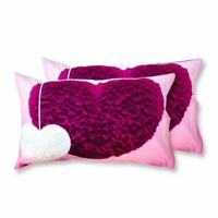 Coppia Federe Per Guanciale Fluffy Hearts I Love Sleeping Stampa Digitale 3D ...