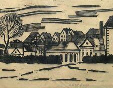 """Walter Hiller *1890 Rositz / Linolschnitt """"Am Stadtrand"""" / signiert / Otto Dix"""
