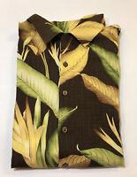 Tommy Bahama 100% Silk Brown Green Hawaiian Floral Button Down Shirt Mens XXL
