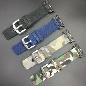 Canvas Nylon Watch Band Replacement Strap For Apple Watch Serie 7 6 5 4 3 2 1