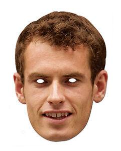 Andy Murry Promi 2D Karten Party Gesichtsmaske Kostüm Tennis Star Champion