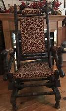 Antique Eastlake Style Victorian Red & Gold Carpet Platform Rocker Glider  Chair