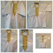 Men Clothing Brocade Dashiki Top W/Cap African Ethnic Shirt Plus Size White Gold