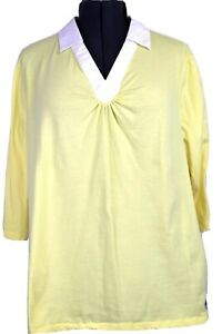Just My Size Women's 3X 22 - 24W, yellow & white collared knit top, short sleeve
