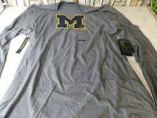 Nike Michigan Wolverines Gray Long Sleeve Shirt Dri Fit Size Large