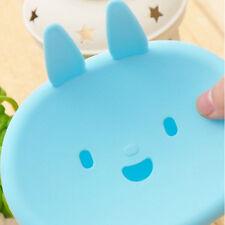 Precioso conejo azul titular de plástico plato jabón caja caso baño aseo