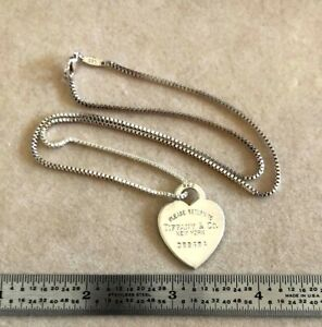 Please Return To Tiffany & Co. Sterling Silver Heart Pendant and Chain