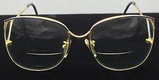 Vintage 1980's Womens Large Rimless Eyeglasses MOD-417 54 18 Gold & Blue Trim