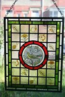 Beautiful Victorian 'Arts and Crafts' design stained glass panel with warbler