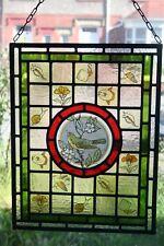 """Belle Victorienne """"Arts et Métiers's design en verre coloré Panneau avec Warbler"""