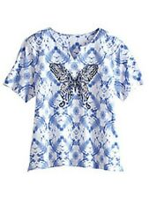 Alfred Dunner shirt size Large L Butterfly on Blue and White Diamond print
