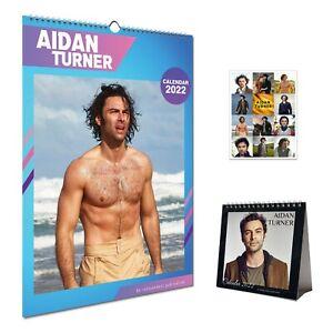 Aidan Turner Bundle 2022 Wall Calendar, Desktop Calendar & Gift 12 Stickers Set