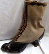 Vintage 1910s Leather & Fabric Boots Heels Size 6