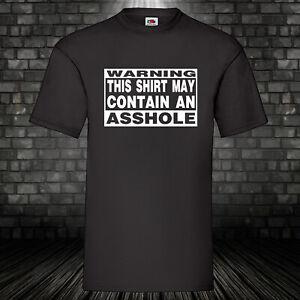 Parental Advisory Warning Shirt T-Shirt schwarz Funshirt Asshole 100% BW S-5XL