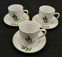 Alco Industries China Holly Berries and Ivy Cup and Saucer Set of 3 Romania