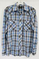 Vintage 1970s Sears Western Wear Shirt Plaid Blue & Gray Snap Button Down Shirt
