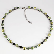 Collier Kette lang Tennis Silber Swarovski Kristalle Pavé Perlen Grün-Mix grün