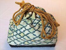 Authentic Japanese bamboo kinchaku drawstring kimono bag, Japan import (Q920)