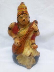 Antique VTG Pottery Terracotta Mud Hindu Goddess Saraswati Sitting Figure Idol 1