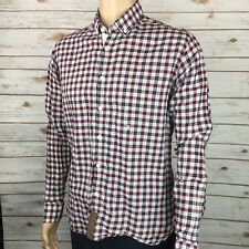 Billy Reid Men's Red Plaid Slim Cut Casual Shirt Large Made In Italy MSRP $195