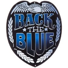 BACK THE BLUE Police Metal Sign Wall Embossed Law Enforcement Badge Man Cave Dec