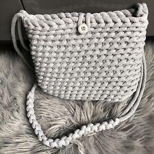 Crochet Macrame Crossbody Bag Handmade Grey Bohoo Style