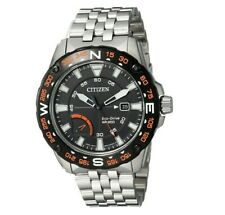 Citizen Eco-Drive Men's PRT Black Compass Dial Silver-Tone 44mm Watch AW7048-51E