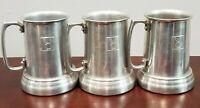 Aluminum Metal 3 Clear Bottom Playboy Bunny Beer Tankard Stein Mug Cups
