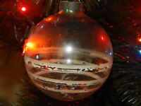 Vintage glass Christmas tree ornament USA clear Tinsel stripped white