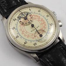 Gallet Edelstahl Herren Chronograph 1930er Jahre Mediumgröße polychromes Zifferb