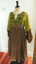 A Mano Vintage Cotone Ricamato Abito Stile Etnico 1970 S
