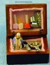 Filled Vanity Box, Dolls House Miniature, Bedroom Accessory. 1.12 Scale