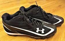 UNDER ARMOUR Black/White Baseball Cleats Size 11.5 EUR 45 *EUC*