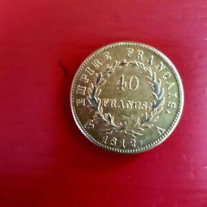 Copie Piece de  40fr Napoléon plaque     or TTB 1812