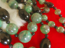 Amazing large Green swirl Black Glass Bead 2 strand necklace France 1960's