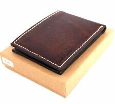 Men's Leather wallet 6 Credit Card Slots 1 Bill Compartment Bifold Slim D brown