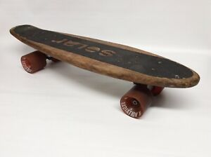 Vintage Solar Wood Skateboard.  Tracker Trucks In Great Shape