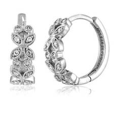 "BERRICLE Sterling Silver CZ Leaf Small Fashion Hoop Huggie Earrings 0.5"""