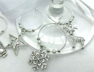 Christmas Wine Glass Charms X 6 Secret Santa Table Decoration Office Gift S