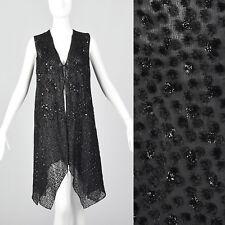 Medium 1990s Silk Velvet Burnout Vest Long Black Goth VTG Beading Sequins Ties