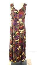 Betsy Lauren Vintage Dress Size 16 Leaf Pattern Midi Button Front Sleeveless