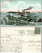 Lachine Rapids Montreal Canada Antique 1908 Postcard steamer ship