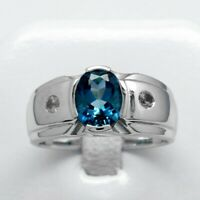 9x7mm Natural London Blue Topaz Man Ring With Topaz in 925 Sterling Silver