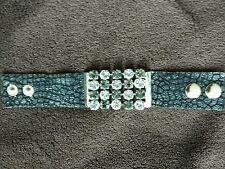 * GENUINE  Swarovski Crystals Black Leather Bracelet
