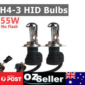 55Watt H4-3 Hi/Low Beam HID Bulbs Xenon Headlight Globe Fog Light Restore 6000k