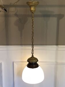 """Single Wired Antique Fixture Milk White Globe 33"""" Long"""