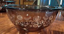 Pyrex Mixing Bowl #326 Brown Glass Hearts and Birds 4 Liter