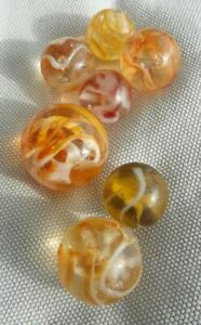 Glasmurmeln orange rot alt marbles Lauscha