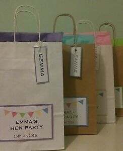 Personalised Wedding Favours Party Gift Bags with Tissue Paper/Hen/Christening